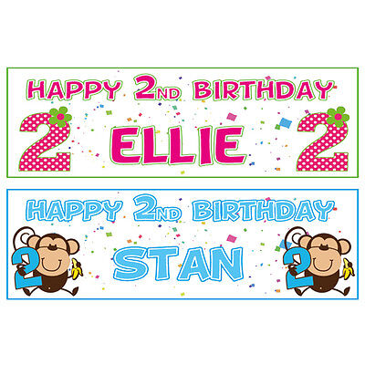 2 PERSONALISED 2nd BIRTHDAY BANNERS - 2 for 1 BEST QUALITY GLOSSY (Best Birthday Banners)