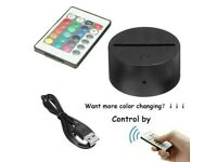 3D LED lamp 7 Colours with Remote ,Charger and 2X Illusion Art Pcs (NEW)