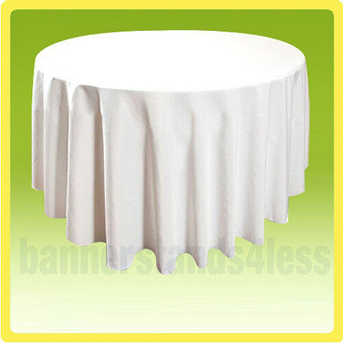 """108"""" Round Tablecloth Table Cover Banquet Wedding Restaurant Polyester - WHITE"""