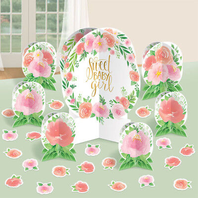 Baby Shower Decorating Kit (BABY SHOWER Sweet Floral TABLE DECORATING KIT (27pc) ~ Party Supplies Pink)