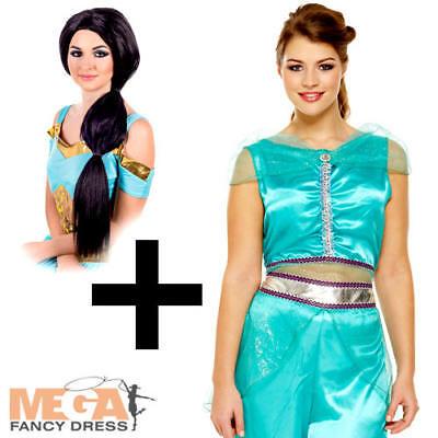 Arabian Princess + Wig Ladies Fancy Dress Jasmine Fairytale Dancer Adult Costume