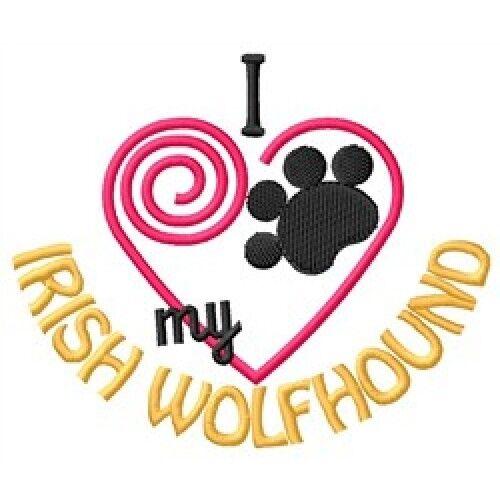 "I ""Heart"" My Irish Wolfhound Ladies Fleece Jacket 1323-2 Size S - XXL"