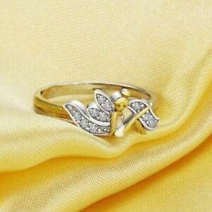 925 Sterling Tinkerbell ring, size 8, new (fairy, flower) - fash