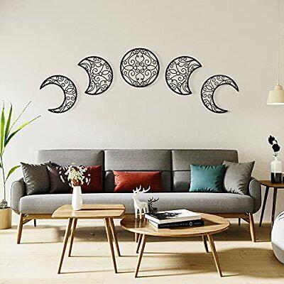 Moon Wall Decor 5pcs Boho Moon Phase Wall Art Decor Nordic Wood Moon Phase Wa...