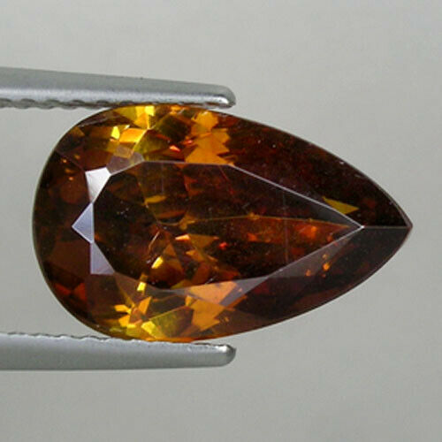 4.74 ct DAZZLING DEEP BROWNISH ORANGE - NATURAL SPHELARITE Pear  16515 CL