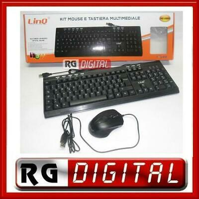 KIT TASTIERA E MOUSE USB CON FILO 2in1 MULTIMEDIALE 113 TASTI LINQ MK 6880