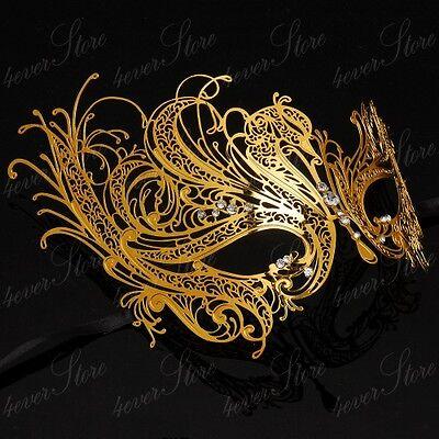 Womens Beautiful Swan Filigree Laser-Cut Light Metal Masquerade Prom Mask [Gold]