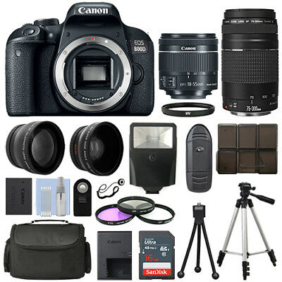 Used, Canon EOS 800D SLR Camera + 4 Lens Kit 18-55 STM + 75-300mm + 16GB Top Value Kit for sale  Shipping to India