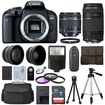 Canon EOS 800D SLR Camera + 4 Lens Kit 18-55 STM + 70-300mm