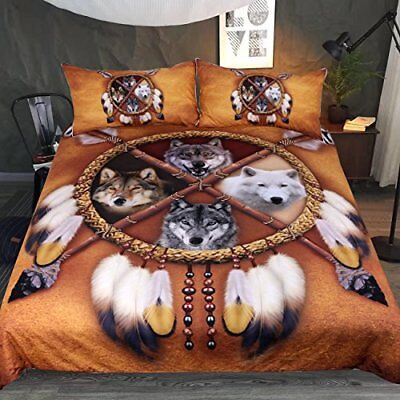 3pcs Vintage Queen Size Duvet Cover Pillowcase American Indian Wolf Feather Gift