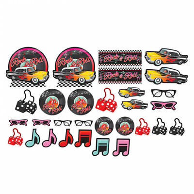 I LOVE ROCK AND ROLL Classic 50s CUTOUTS (30) ~ Birthday Party Supplies Decorate (Rock And Roll Party Supplies)