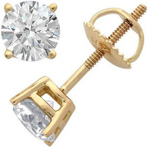 CERTIFIED 1.00ct 1ct ONE CARAT ROUND-CUT F/VS2 DIAMONDS 14K GOLD STUDS EARRINGS