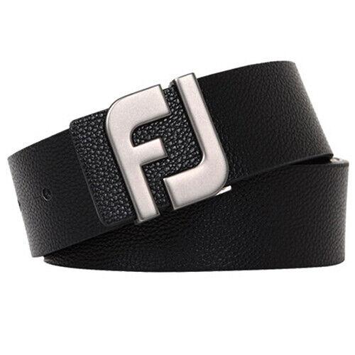 FootJoy FJ 17 Initial Belt Golf Tour Buckle Synthetic Leather Simple (Black)
