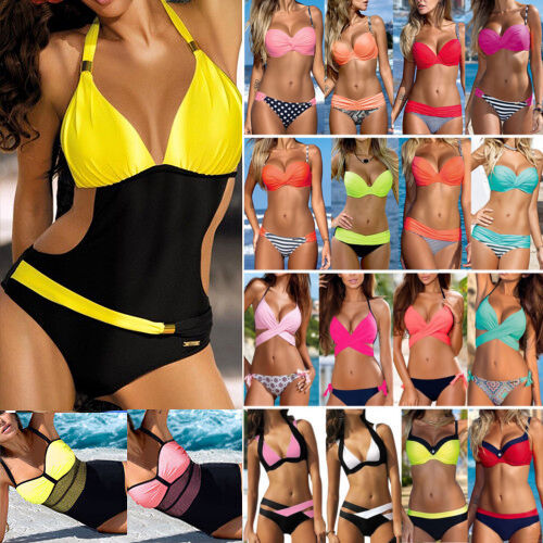 Damen Push Up Bikini Set Monokini Gepolstert Badeanzug Bademode Schwimmanzug 42