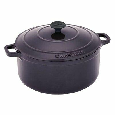 Chasseur Cast Iron 37232EG French Casserole with Lid, Eggplant Chasseur Cast Iron Casserole