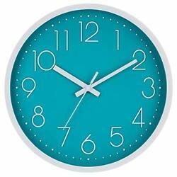 "Silent Wall Clock, 12"" Non-Ticking Quartz Battery Operated Decorative Cyan"