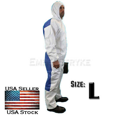 Dupont Tychem Tyvek Qc127s White Coverall Chemical Hazmat Kit Suit Qc127 Large L