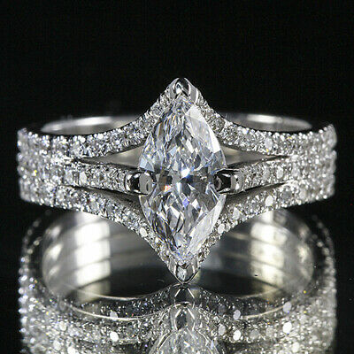 2.25ct GIA 18K White Gold Marquise Cut Diamond Engagement Ring F/SI1(1136615454)