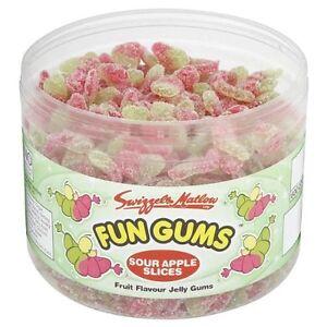 Fun Gums Sour Apple Slices Tub Retro Kids Sweets - 600's