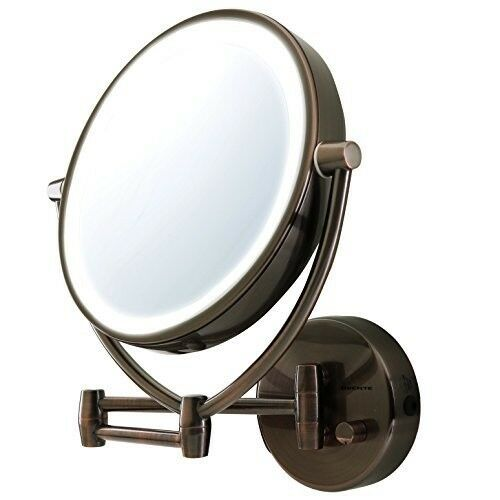 """Led Lighted Makeup Mirror 10x Magnify Wall Mount Swivel 9.5"""""""