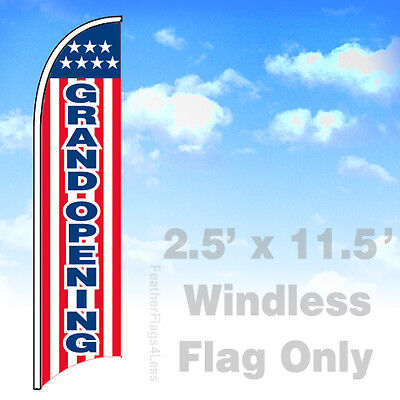 Grand Opening - Windless Swooper Feather Sign Flag 2.5x11.5 - Stars Stripe Rb