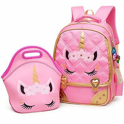 Moonmo Cute Unicorn Face Diamond Sequins Waterproof Princess School Backpack ...