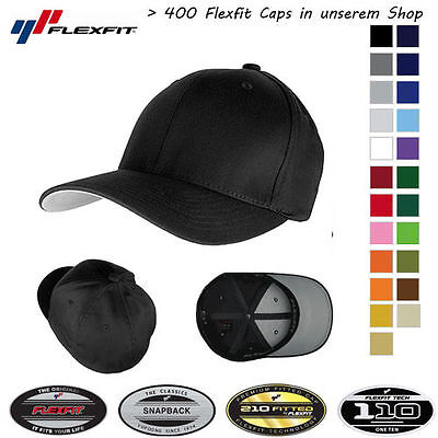 FLEXFIT CAP BASEBALL CAPS graue Unterseite ORIGINAL MÜTZE BASECAP FLEXCAP
