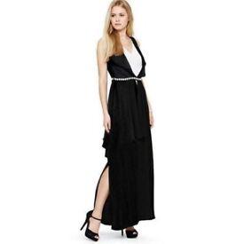Size 16 Black & White Maxi Dress with embellished belt nwt's