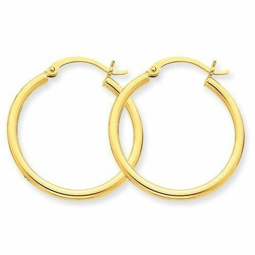 """1//2/"""" E800-30 14K Solid Yellow Gold Endless Hoop Earring W:1.25 mm by 12 mm"""