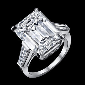 11.70 ct GIA J VS1 emerald cut baguette diamond engagement 3 stone ring platinum