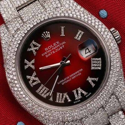 Rolex Datejust II 116300 Red Vignette Roman Diamond Dial Fully Iced Out 41mm SS
