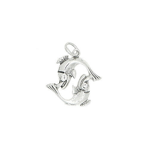 SILVER ONE SIDED ZODIAC SIGN PISCES CHARM OR PENDANT