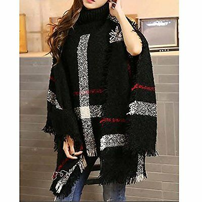 Super Fashion Batwing Cape Style Women Winter Warm Poncho/Sweater Coat Knit-Top