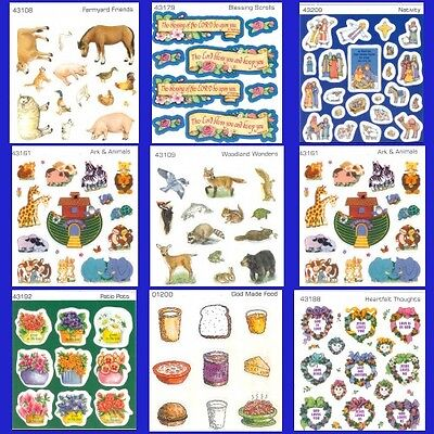 *FAITH* STANDARD PUBLISHING STICKERS Religious ANIMALS GOD SAYINGS FOOD ARK more