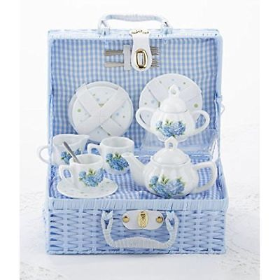 Delton Child's Porcelain Tea Set for 2 in Wicker Basket Hydrangea NEW