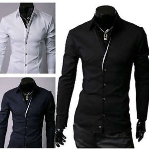 ST90-New-Mens-Luxury-Casual-Slim-Fit-Stylish-Dress-Shirts-3-Colors-4-Size
