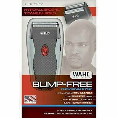 Wahl Bump-Free Shaver - Rechargeable Hypoallergenic Shaver w/ Trimmer 7339-300