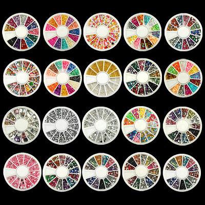 Nail Art Rhinestones Glitters Acrylic Tips Decoration Manicure Wheel 20 styles