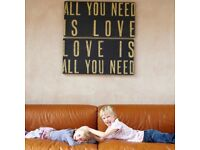 """""""""""All you need is love"""" wooden wall art panels Beatles song picture black/cream"""