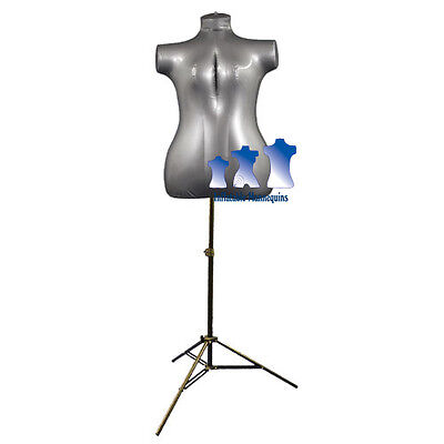 Inflatable Female Torso Plus Size With Ms12 Stand Silver