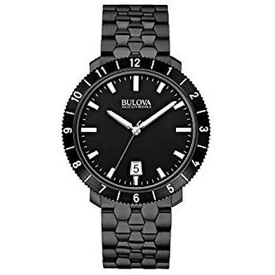 Accutron Black Bracelet - Bulova Accutron II 98B218 Black Steel Bracelet Watch