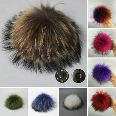 Women Faux Raccoon Fur Pom Pom Ball with Press Button for Knitting Hat DIY - Diy Hats
