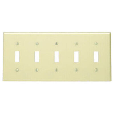 LEVITON IVORY 5-Gang Toggle Switch Wall Plate Plastic Cover 86023 NEW WOW! Leviton Switch Covers