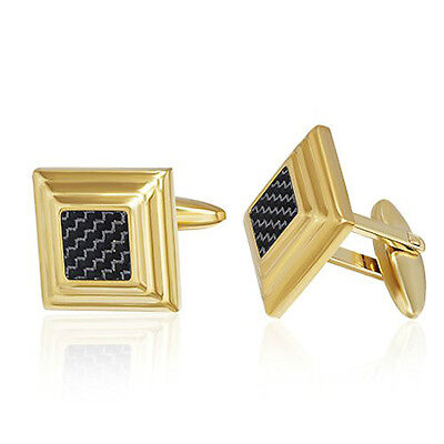 Mens Square 2 Tone Gold Plated Cufflinks with Carbon Fiber (Carbon Fiber Mens Cufflinks)