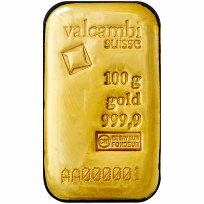 On Sale  100 Gram Valcambi Cast Gold Bar  New W  Assay