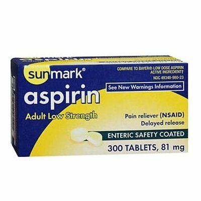 Sunmark Adult Low Strength Aspirin, Enteric Safety Coated Tablets 81 mg, 300 Ct