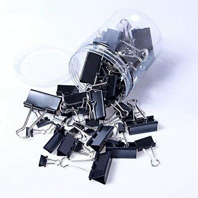 120pcs Binder Clips Paper Clamps Assorted 6 Sizes Paper Binder Clips Black