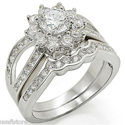 Two Piece 1.45ct CZ Flower Wedding Engagement Set White Gold EP Ladies Ring