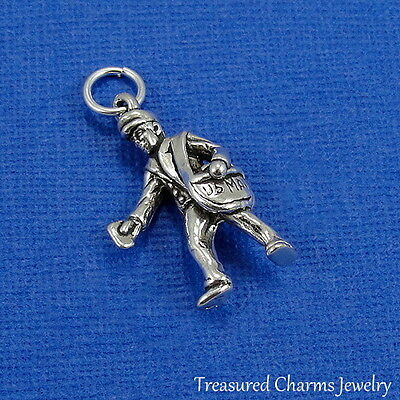 .925 Sterling Silver Mailman CHARM Postal Mail Man Carrier Delivery PENDANT - Man Silver Charm