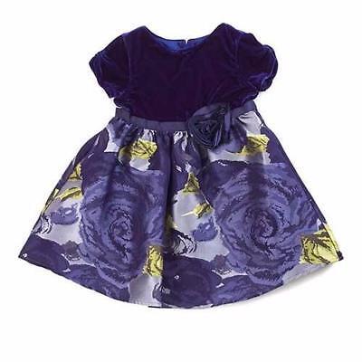LITTLE ANGELS BY US ANGELS® Girls' 2T 3T Eggplant Velvet & Floral Dress NWT $69